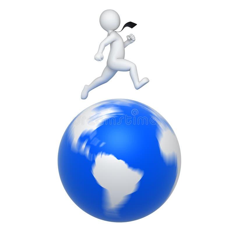 De zakenman roteert de wereld vector illustratie