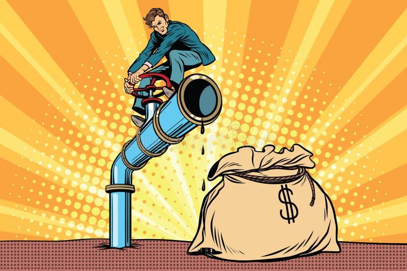 De zakenman sluit de kraanolieleiding, een zak geld vector illustratie
