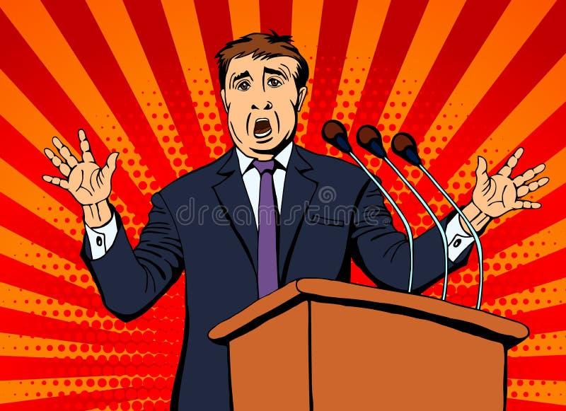 De zakenman spreekt in de microfoon aan het publiek stock illustratie