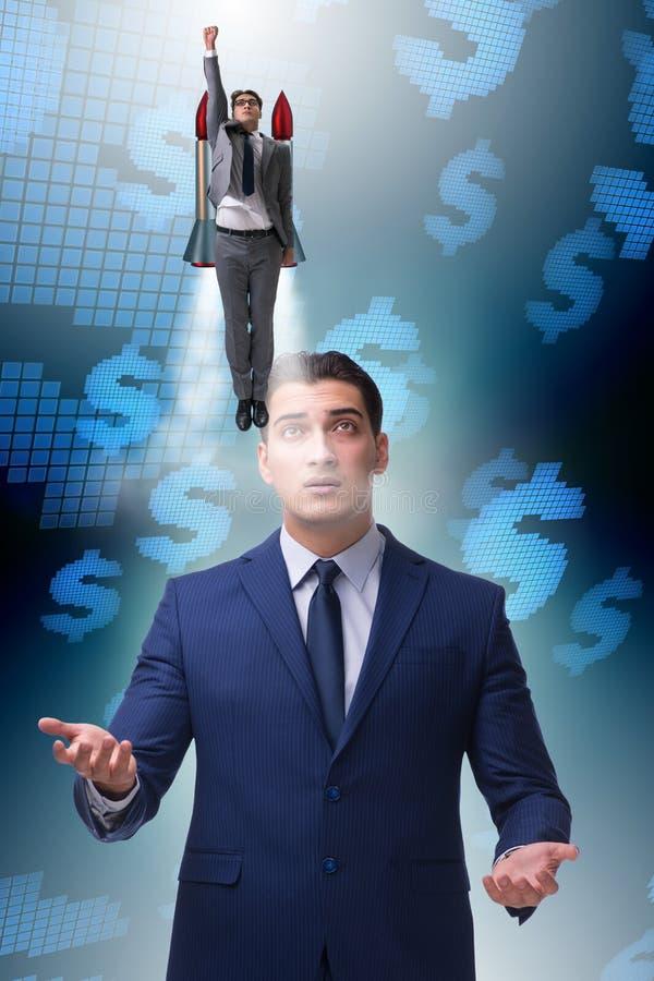De zakenman in start bedrijfsconcept royalty-vrije stock afbeeldingen