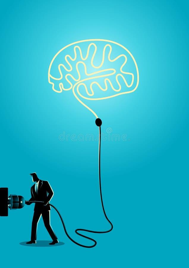 De zakenman stopt hersenen stock illustratie
