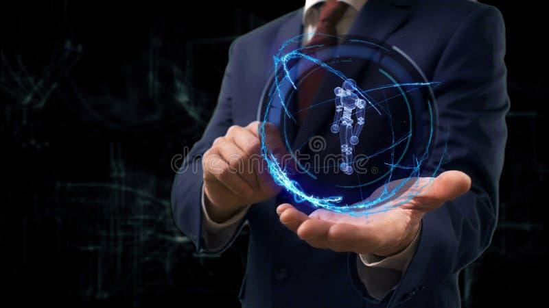 De zakenman toont conceptenhologram 3d cyborg op zijn hand stock fotografie