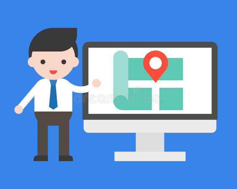 De zakenman toont plaats op de vector van het computerscherm stock illustratie