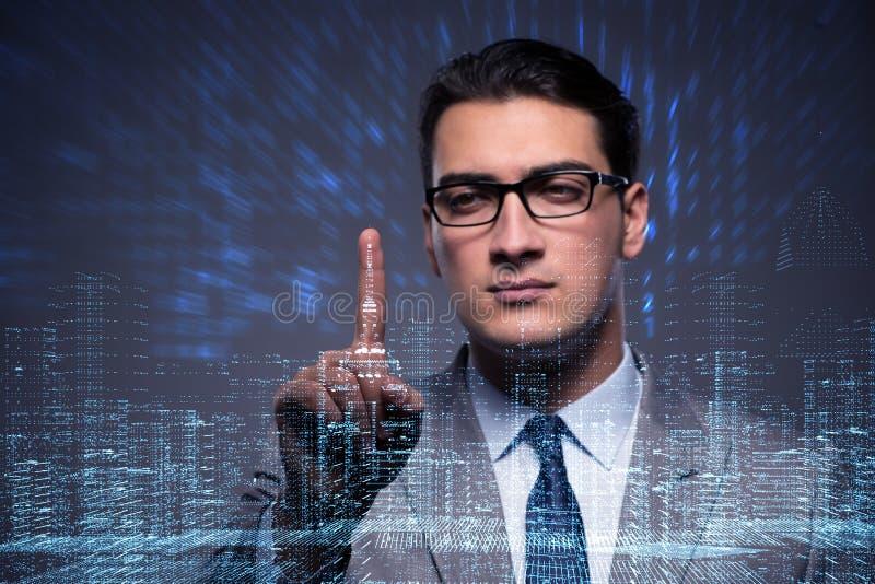 De zakenman van digitaal tijdperk in concept stock afbeelding
