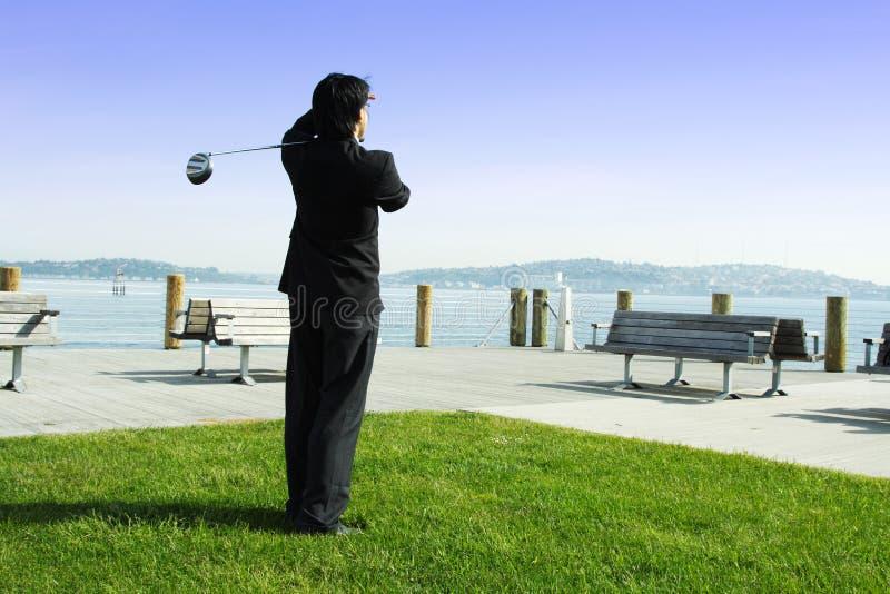 De zakenman van Golfing royalty-vrije stock foto