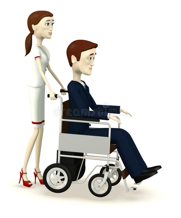 De zakenman van het beeldverhaal op handwielstoel met verpleegster vector illustratie