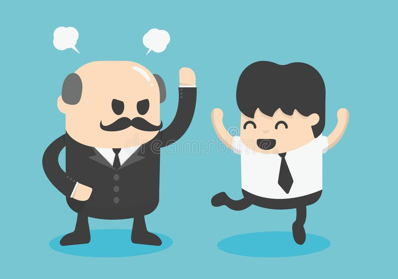 De zakenman van het conceptenbeeldverhaal het gelukkige, positieve denken royalty-vrije illustratie