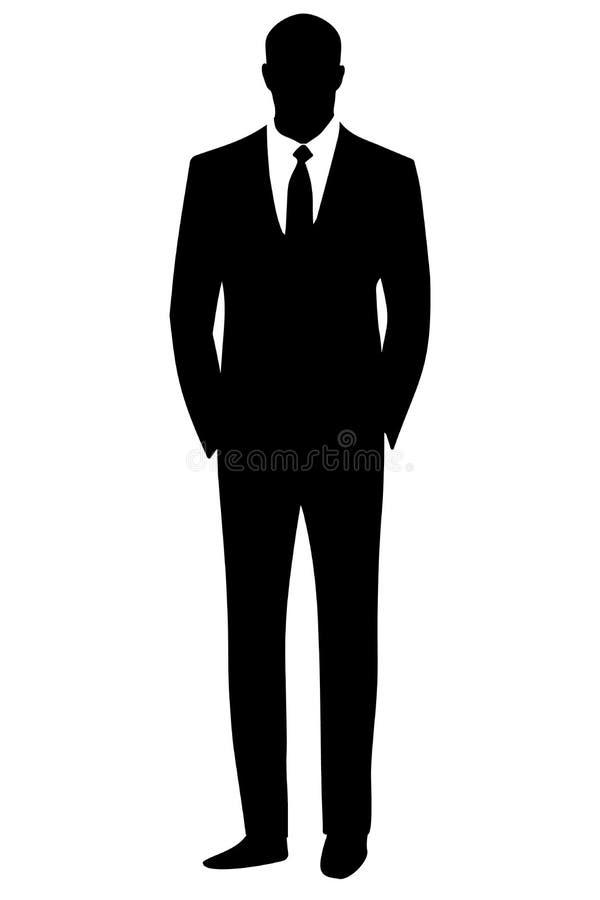 De zakenman van de silhouetmens royalty-vrije illustratie