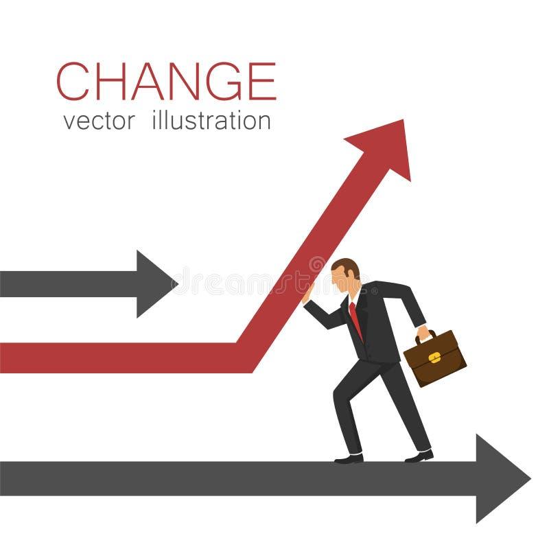 De zakenman verandert richting van een pijl Toenemende Winsten vector illustratie