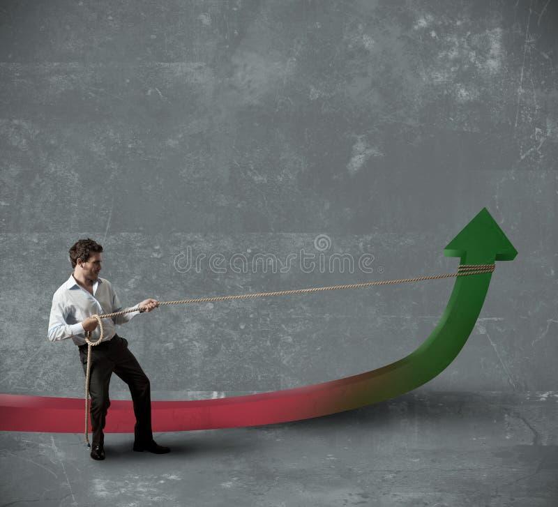 De zakenman verandert statistieken royalty-vrije stock foto