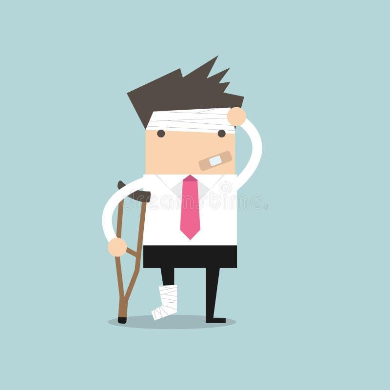 De zakenman verwondde status met steunpilaren en tonen gegoten op een gebroken been voor ziektekostenverzekering vector illustratie