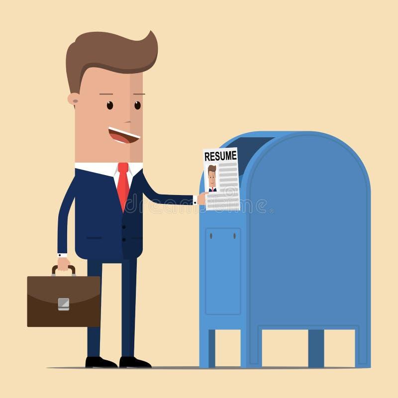 De zakenman verzendt de samenvatting per post, om een nieuwe baan te krijgen Vector illustratie royalty-vrije illustratie