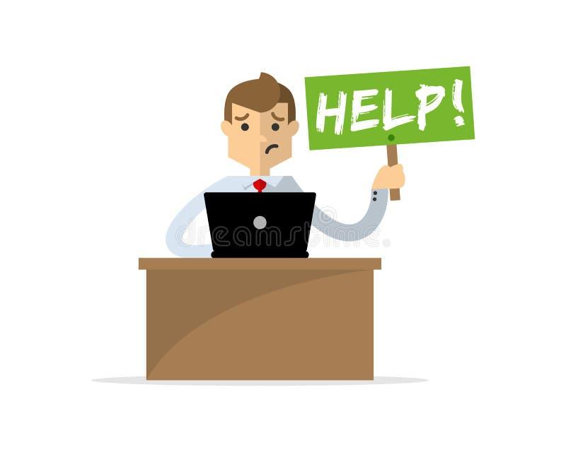 De zakenman of de werknemer heeft een hulp nodig stock illustratie