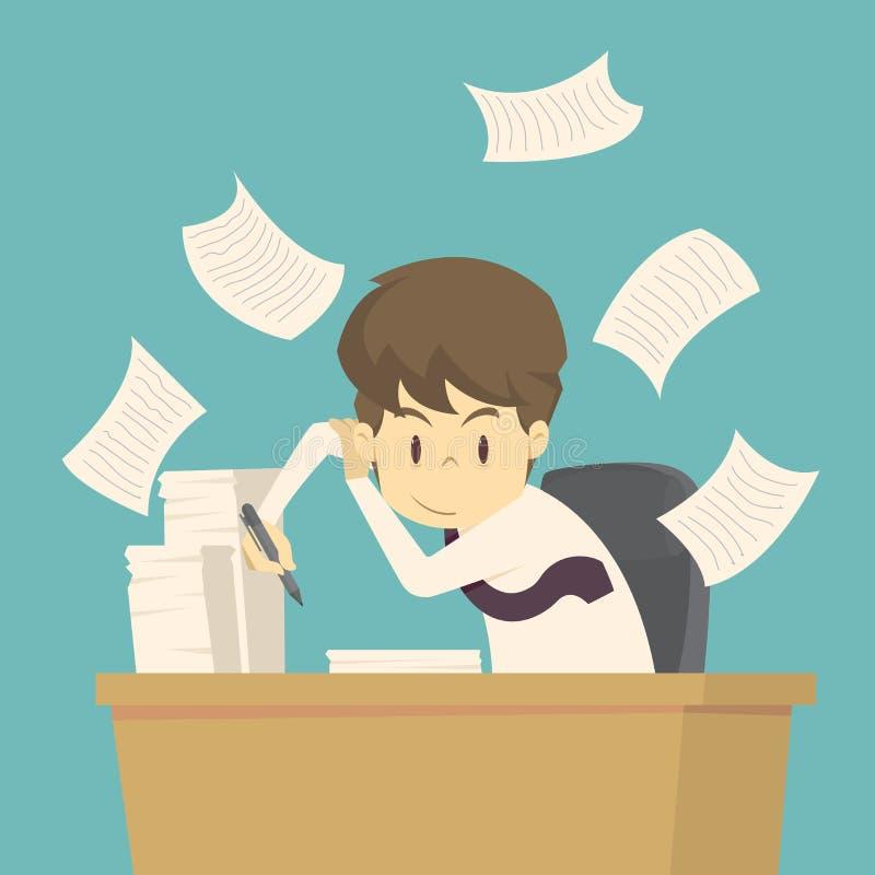 De zakenman werkt bij zijn bureau het beeldverhaal van zaken, werknemerssucces is het concept de zaken van mensenkarakters, kan z vector illustratie