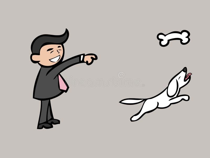 De zakenman werpt been voor hond vector illustratie