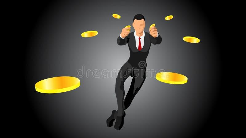 De zakenman werpt met de hand een muntstuk het werpen van een gouden muntstuk de rijken EPS10 stock illustratie