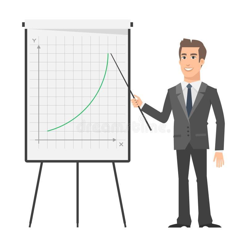 De zakenman wijst op bij tik grafiek en het glimlachen vector illustratie