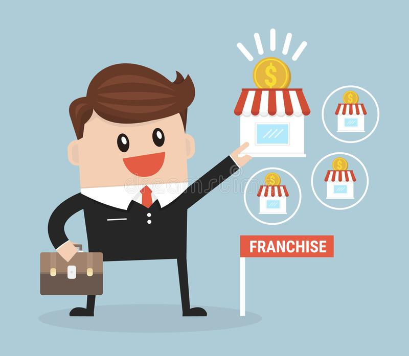 De zakenman wil zijn zaken, Concessieconcept uitbreiden royalty-vrije illustratie