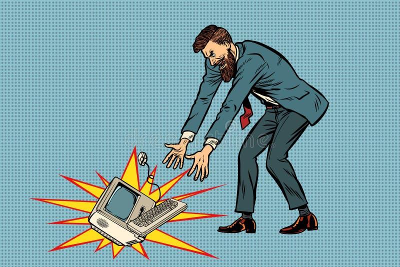 De zakenman in woede breekt computer vector illustratie