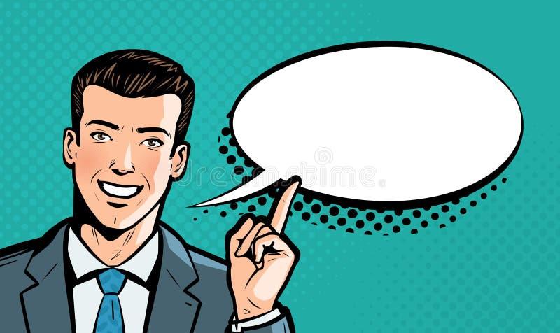 De zakenman zegt Bedrijfs concept Pop-art retro grappige stijl De vectorillustratie van het beeldverhaal vector illustratie