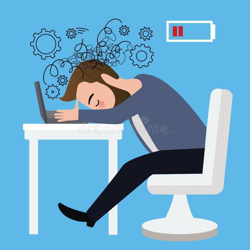 De zakenmanarbeider beklemtoonde neer hoofd op laptop van de de zittingsdepressie van de lijst boze crisis de carrièrebaan royalty-vrije illustratie