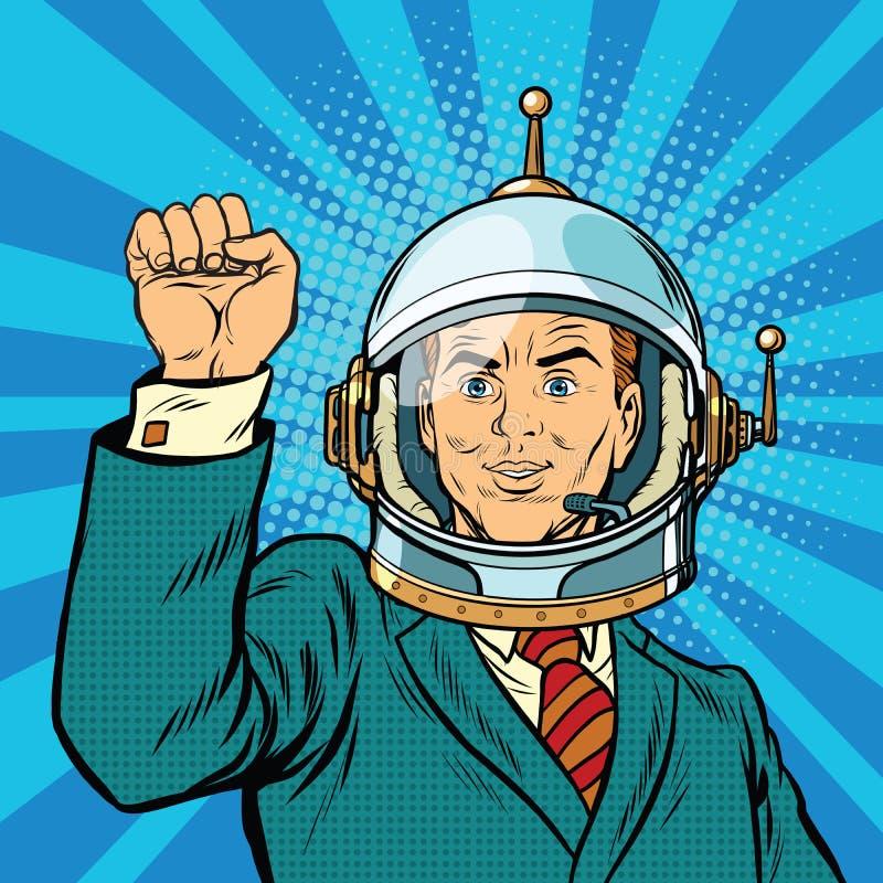 De zakenmanastronaut dient een gebaar van eenheid in vector illustratie