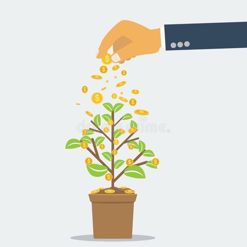De zakenmanhand die de boom van het geldmuntstuk investeren met kan de groei, investeringsconcept met vlakke en stevige kleurenst royalty-vrije illustratie