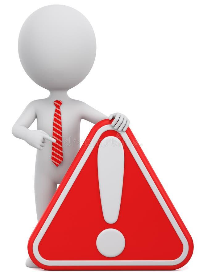 De de zakenmanpunten van de karaktermens aan een rode uitroep merken op een witte achtergrond 3d geef illustratie voor reclame te royalty-vrije illustratie