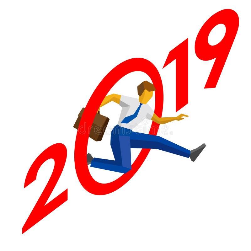 De zakenmansprong werpt nul in 2019 vector illustratie