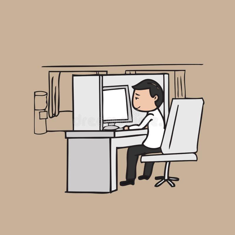 De zakenmanwerken in bureau vector illustratie