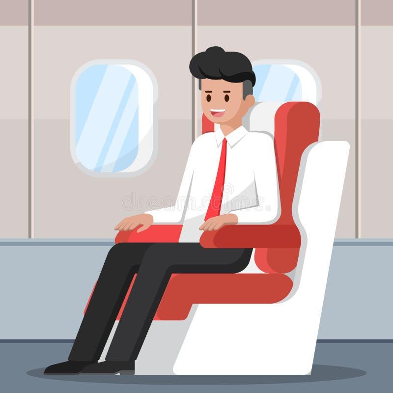 De zakenmanzitting en ontspant op het vliegtuig royalty-vrije illustratie