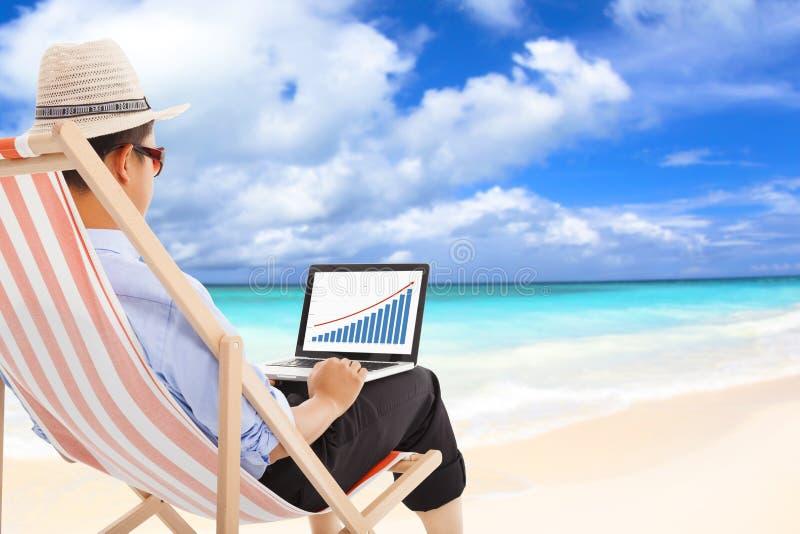 De zakenmanzitting op ligstoelen en kijkt financiële voorraad stock afbeeldingen