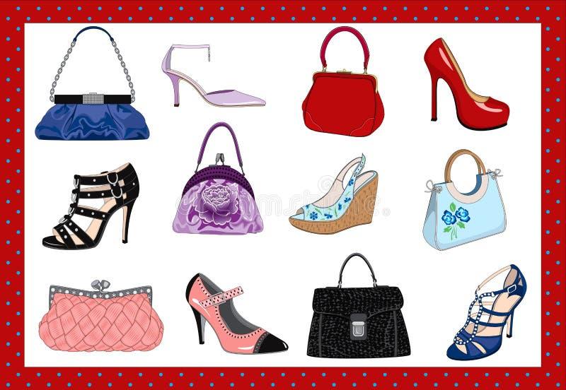 De zakken en de schoenen van dames stock illustratie