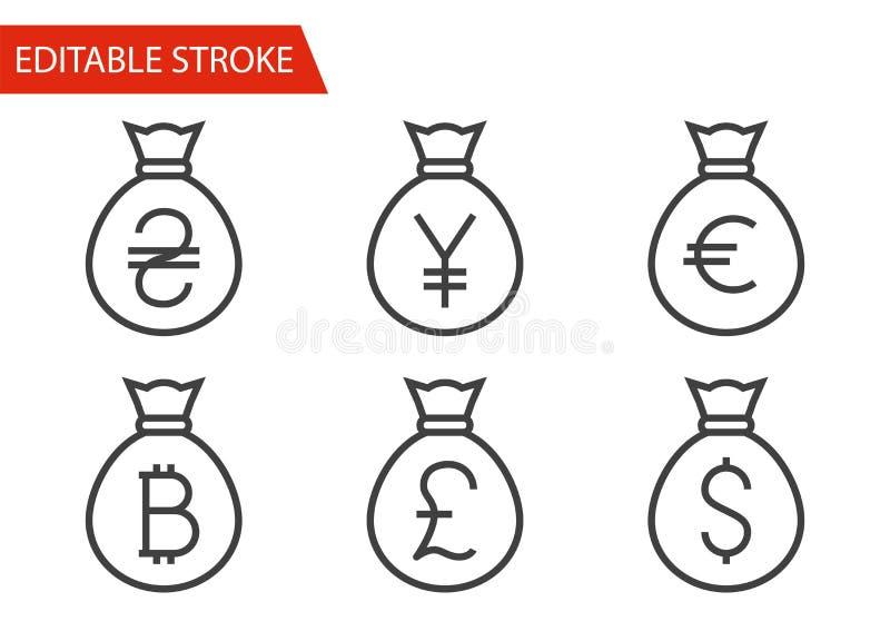 De zakken met Geld verdunnen Geplaatste Lijn Vectorpictogrammen stock illustratie
