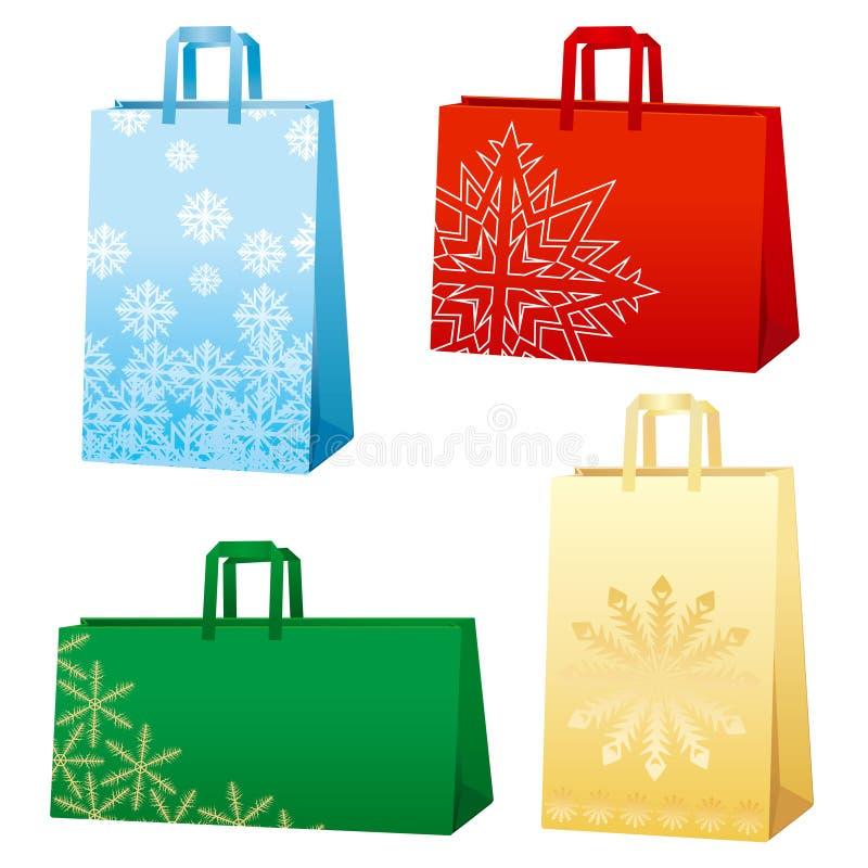 De zakken van Kerstmis - Sneeuwvlokken royalty-vrije illustratie