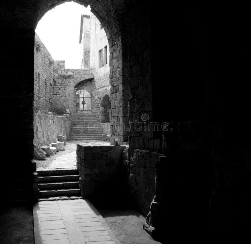 De Zalen van de ridder - Akko (Acre), Israël stock foto's