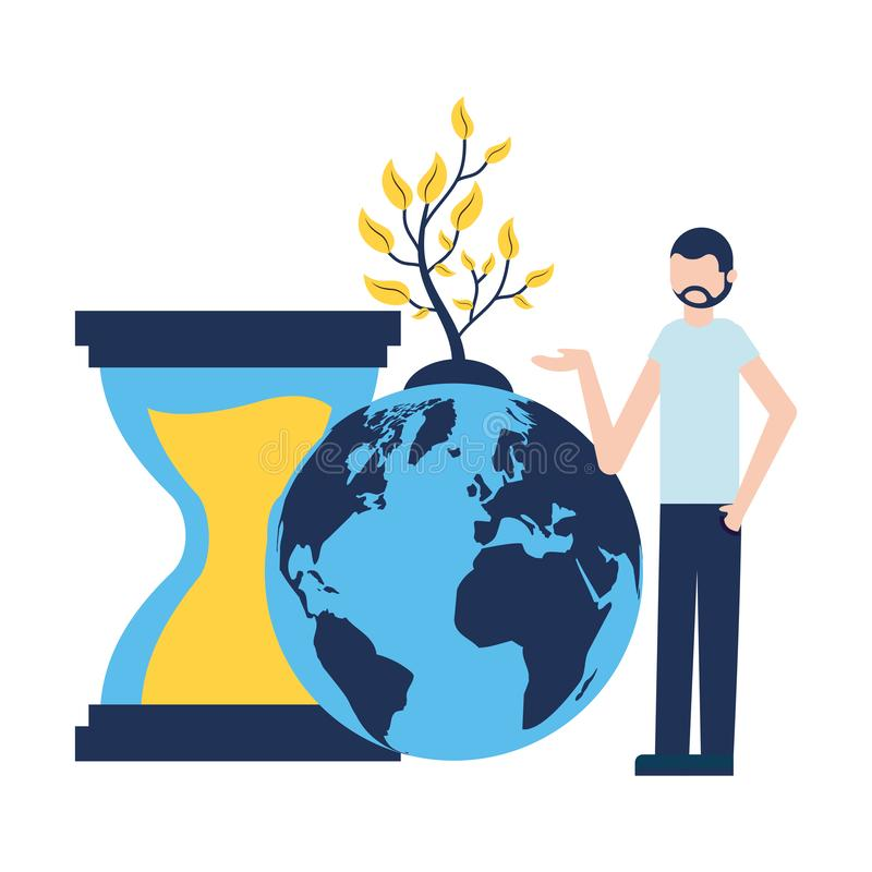 De zandloperinstallatie van de mensenwereld royalty-vrije illustratie