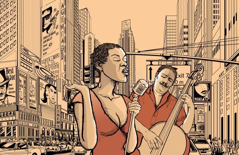 De zanger en doublle de baarzen van de jazz royalty-vrije illustratie