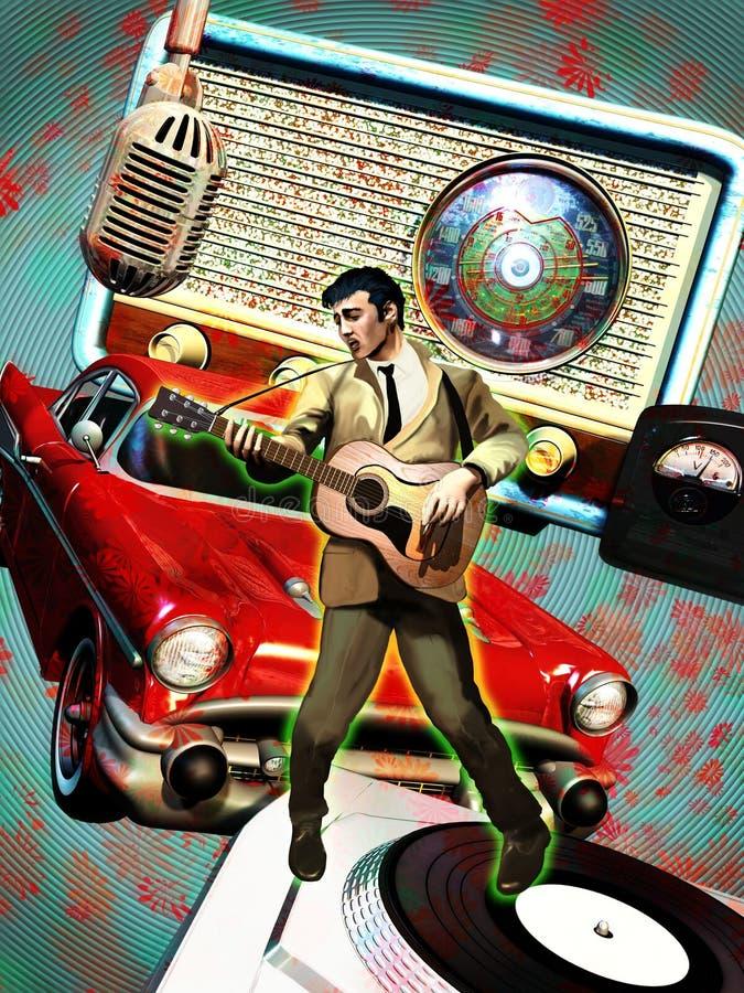 De zanger van jaren '50 royalty-vrije illustratie