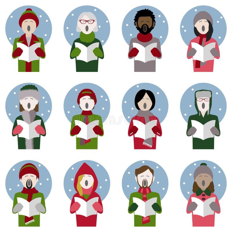 De zangerpictogrammen van de Kerstmishymne in de sneeuw vector illustratie