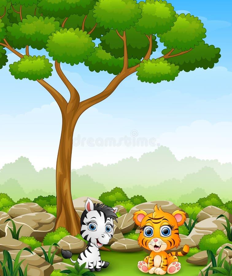 De zebra van de beeldverhaalbaby met de zitting van de babytijger in de wildernis royalty-vrije illustratie
