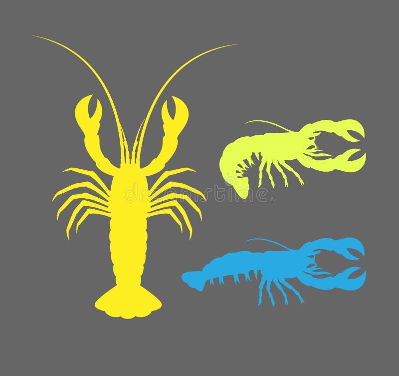 De zeekreeft kleurde Silhouetten stock illustratie