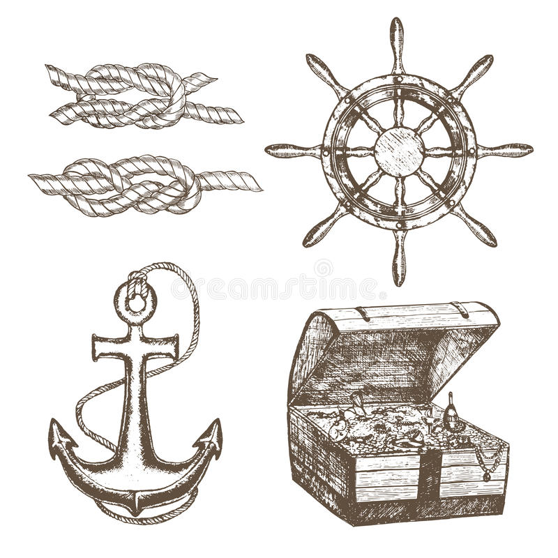 De zeeman Equipment Set Hand trekt Schets Vector vector illustratie