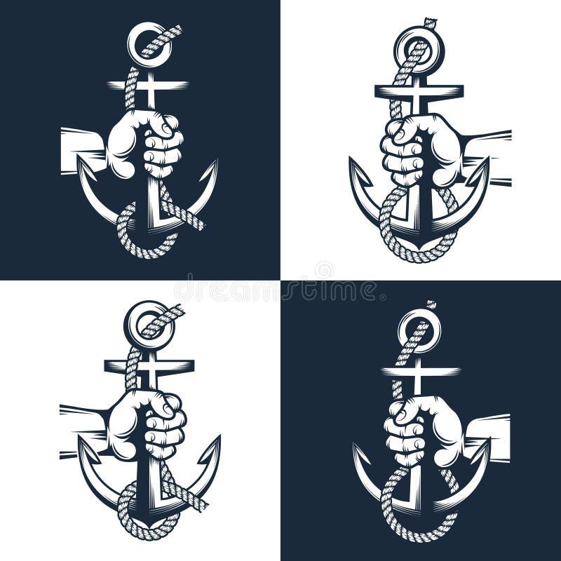 De zeemanshand houdt een anker met kabel royalty-vrije illustratie
