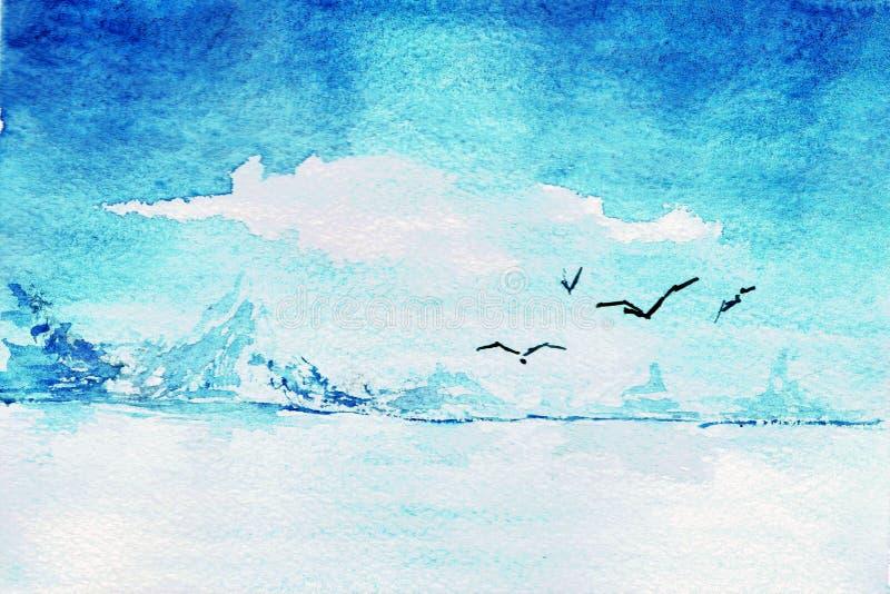 De zeemeeuwen vliegen over overzeese het abstracte waterverf schilderen stock illustratie
