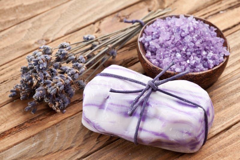 De zeep van de lavendel. stock foto