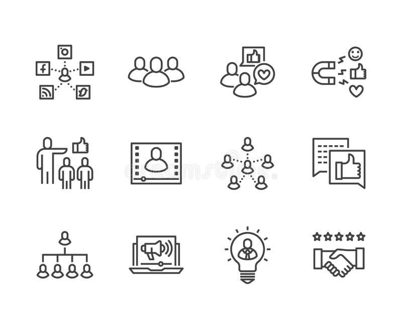 De zeer belangrijke geplaatste pictogrammen van de Opinieleider vlakke lijn Invloed marketing, sociale media die, bedrijfsmensen, royalty-vrije illustratie