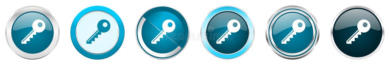 De zeer belangrijke zilveren metaalpictogrammen van de chroomgrens in 6 opties, reeks Web blauwe ronde knopen die op witte achter vector illustratie