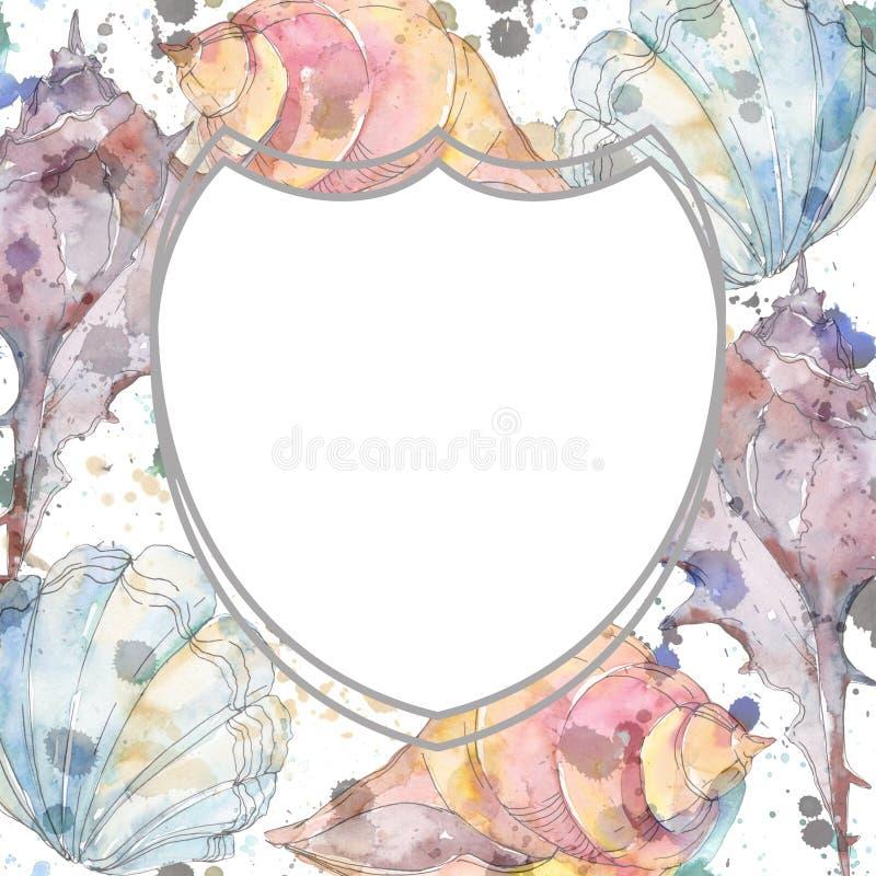 De zeeschelp tropische elementen van het de zomerstrand Waterverf achtergrondillustratiereeks Het ornamentvierkant van de kadergr stock illustratie