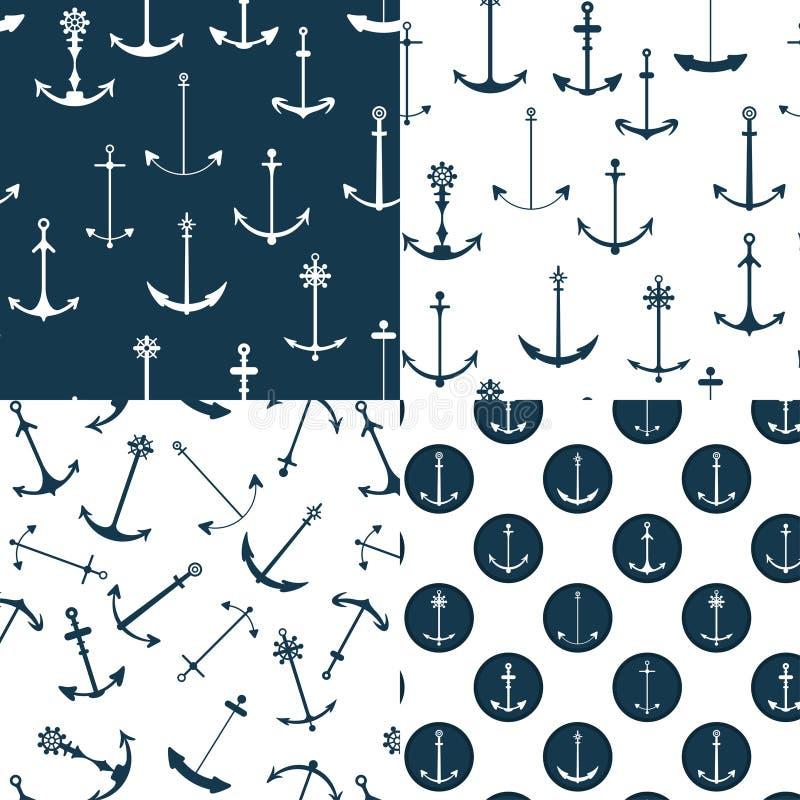 De zeevaart Naadloze Patronen van Ankers stock illustratie